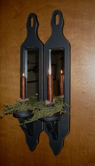 Primitive Vtg Wooden Mirrored Candle Holders~sconce ' S~sweet Annie~pair~24