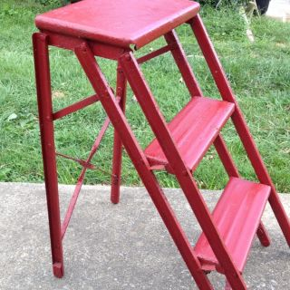Vintage 1950`s Folding Metal 3 Step Ladder Stool - Red photo