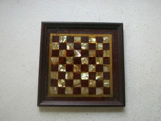 Checker Chess Board Miniature Or Salesman Sample Mother Of Pearl Mop 1900s Rare photo