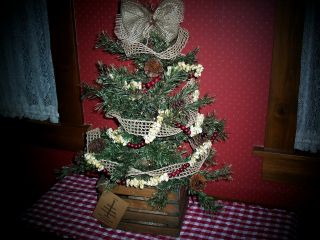 Farmhouse Primitive Tree In Wood Crate W/rice Lites,  Popcorn Garland,  Jute Ribbon photo