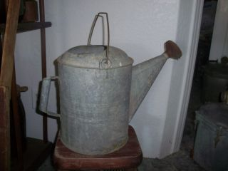 Old Galvinized Large Sized 12qt Watering Can - - Bucket photo