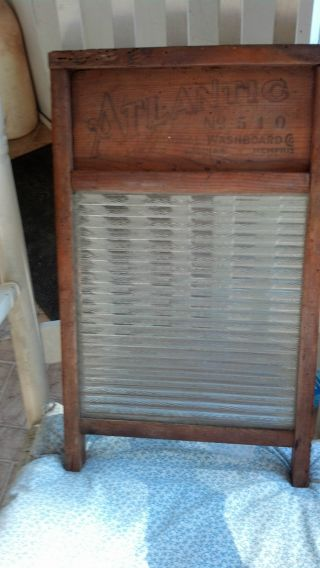 Antique National Washboard Co.  Atlantic No.  510 Wood And Glass Washboard photo