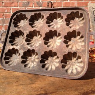 Antique Cast Iron Cornbread Muffin Pan~12 Hole~primitive~ photo