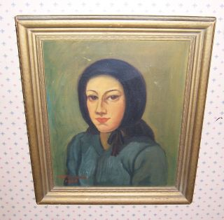 Rare Antique Folk Art Oil Painting Of A Young Amish Girl Signed Denbeau 1943 photo