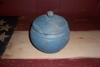 Antique Primitive Early Blue Painted Wooden Spice Jar Bowl With Lid photo