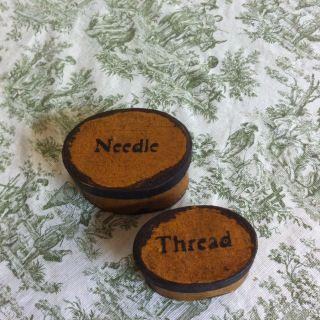 Mustard Set Of Mini Paper Mache Needle And Thread Boxes photo