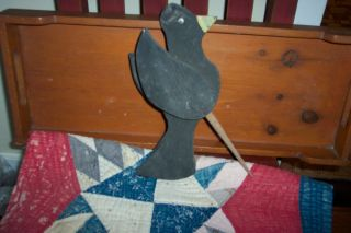 Primitive Old Wooden Crow For Lawn Sturdy Folk Art Rustic Shabby Great Early photo