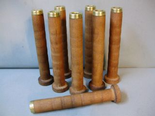 8 Wooden,  Wood Textile Mill Spools,  Bobbins With Brass End photo