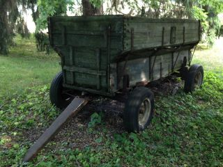 Antique Farm Wagon Grain Corn Vintage Horse Drawn Pull Type Wood Hay photo