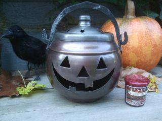 Antiqued Halloween Jack - O - Lantern Cauldron Candle Holder+yankee Candle photo