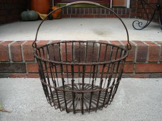 Old Primitive Androck Wire Egg Gathering Basket ~ Authentic Country Antique photo