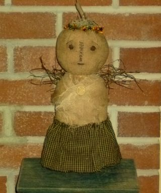 Primitive Ooak Fall Harvest Angel Doll Shelf Sitter ~ Thanksgiving Centerpiece photo