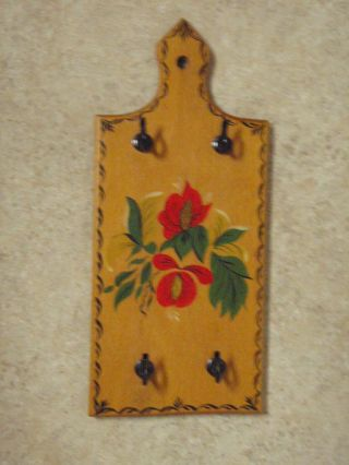 4 Old Rare Cup Hooks Antique Farmhouse Kitchen Plaque Key Keeper Hand Painted photo