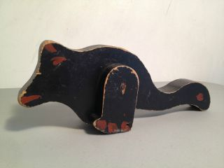 Antique American Folk Art Wooden Frog,  Dinosaur,  Bird Toy Painted Black Old Wood photo