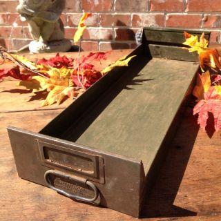 ~vintage Primitive Metal Box~tray~drawer~best Green Paint~ photo