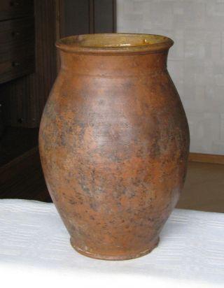 Antique Primitive Redware Glazed Pot Jar Pottery Lithuania Old Early 19c 19th photo