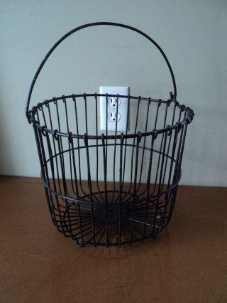 Vtg Antique Wire Primitive Black Rustic Country Egg Potato Basket photo