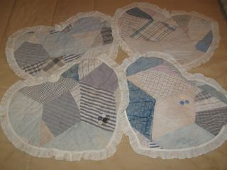 4 Primitive Old Handmade Quilt Vintage Victorian Heart Pillow Doilie Mats photo