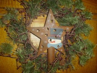 Primitive Hand Painted Rt Star Tree Topper Eb 176 photo