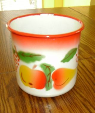 Vintage Enamelware Pitcher With Apple,  Pear And Grapes,  White Red And Orange photo