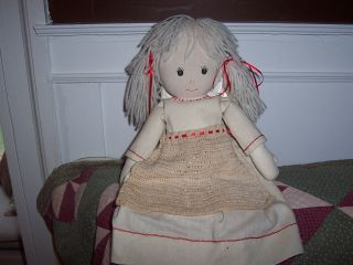 Primitive Cloth Doll,  Everything Handmade And Hand Stitched. photo