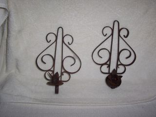 Primitive Pair Of Metal/tin Candle Sconces.  Old. photo