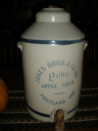 Antique Apple Cider Crock Jug Stoneware Rare Portland Oregon Jones Bros photo