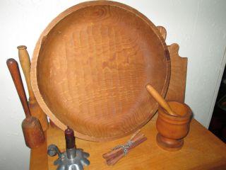 Antique Harvest Gathering Wooden Bowl 17