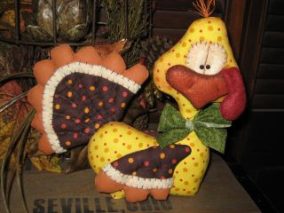 Primitive Hc Fall Harvest Thanksgiving Turkey Doll Shelf Sitter Ornie Tuck photo
