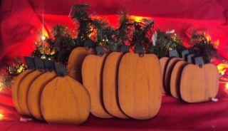 Primitive Wood Fall Harvest Pumpkins Farmhouse Oranments (12) photo