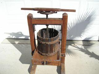 Antique Cider Press,  Oak Frame,  Copper Lined Juice Table photo