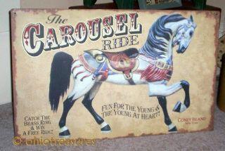 Primitive Big Metal Sign: Carousel Horse Ride Amusement Park Coney Island photo