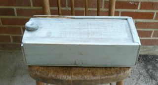 Rustic Antique Primitive Candle Box With Old Gray Paint / Candlebox W/ Lid photo