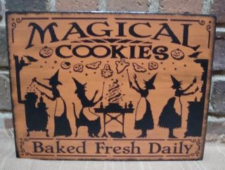 Prim Style Kitchen Halloween Wood Witch Sign Magical Cookies Baked Fresh Daily photo