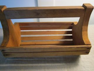 Vintage Wood Handmade Basket/tote/slats Of Wood In Round Form. photo
