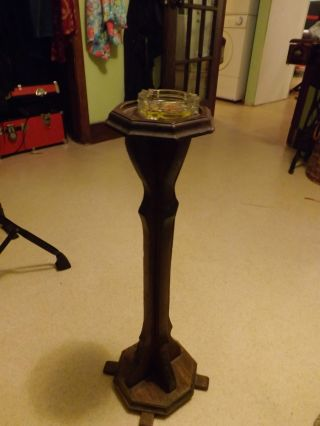 Antique Wood Stand For Ashtray Or Small Plant Or Whatever You Want photo