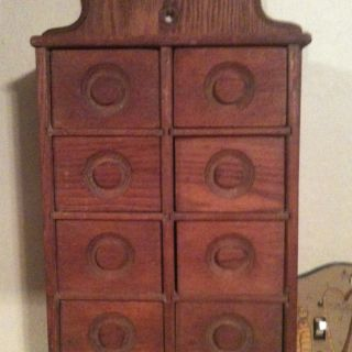 Primitive Antique 8 Drawer Oak Spice Cabinet photo