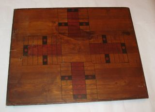 Antique Vintage American Primitive Painted Handmade Wooden Parcheesi Board,  19c photo