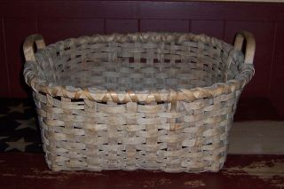 Antique Primitive Early Country Field Laundry 2 Handle Basket photo