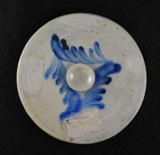 Great Gray Stoneware Lid With Cobalt Blue Decoration photo