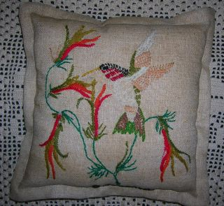 Primitive Crewel Embroidery Repurposed Vintage Stitchery Hummingbird Flower Vine photo