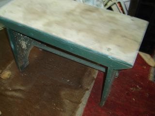 Old Bucket - Boot Bench - Old Green Paint. .  One Board - 14