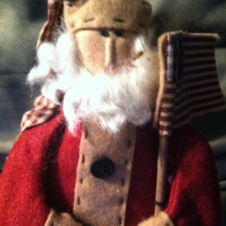 Primitive Santa With American Flag By Honey And Me photo