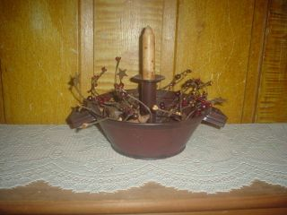Primitive Colander Candle Holder Grubby Candle Berry Ring Eb 119 photo