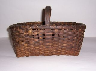 Antique Primitive Early Country Small Berry Gathering Basket photo