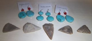 Junk Drawer.  925 Silver Hook And Turquois Ear Rings With 5 Rare Primitive Tools photo
