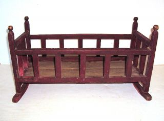 Primitive Antique Handmade Doll Rocking Cradle - Early 1900 ' S photo