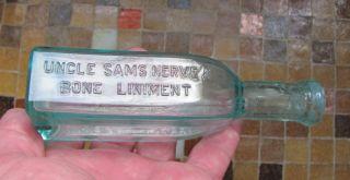 1880 ' S Uncle Sam ' S Nerve & Bone Liniment Medicine Bottle Chicago Americana Glass photo