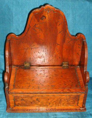 Antique Primitive Hand Made Distressed Wood Salt Box Folk Art Brass Hinges photo