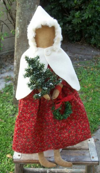 ♥ Early - Look Primitive Christmas Doll In Red ~~ White Wool Cape ♥rcp♥ photo